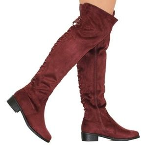 NWT Red Suede Lace Up Heeled Thigh High Boots